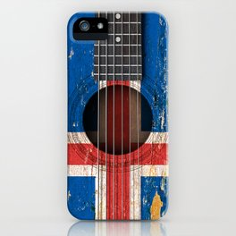 Old Vintage Acoustic Guitar with Icelandic Flag iPhone Case