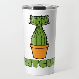 Catcus Funny Cat And Cactus Kittens Kitty Cacti Plants Planting Animals Pet Lovers Gift Travel Mug
