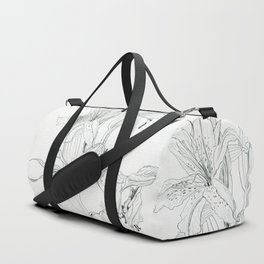 First stage of decay - black and white pencil lilies Duffle Bag