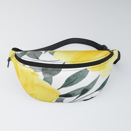 Big yellow watercolor flowers Fanny Pack