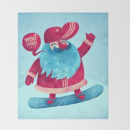 Snowboard Santa Throw Blanket