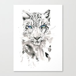 Watercolor leopard with blue eyes print Canvas Print