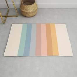 Pastel Retro Rainbow Stripes  Rug