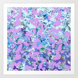 Camouflage in mint and lavender Art Print