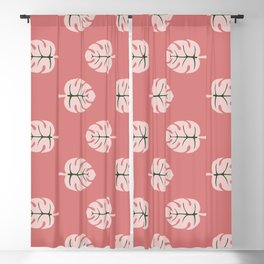 Tropical leaves Monstera deliciosa flaming pink #monstera #tropical #leaves #floral #homedecor Blackout Curtain