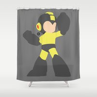 mega man Shower Curtains featuring Mega Man(Smash)Black by samaran