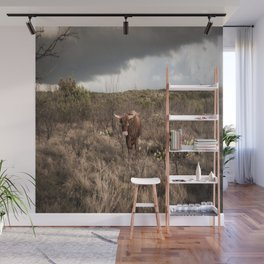 Stare Down - A Texas Bull in the Mesquite and Cactus Wall Mural