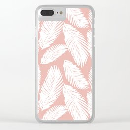 White Tropical Palm Tree Fern Leaf on Rose Gold Pattern Clear iPhone Case