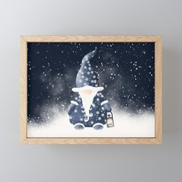 Winter Night Nordic Gnome Framed Mini Art Print