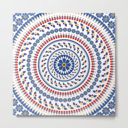 Floral Mandala Blue and Red colour Palette Metal Print