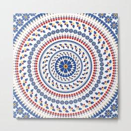Floral Mandala Blue and Red colour Palette Metal Print