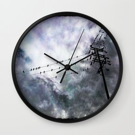 Birds On Wire Wall Clock