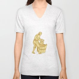 Medieval Miller With Bucket Drawing Unisex V-Neck