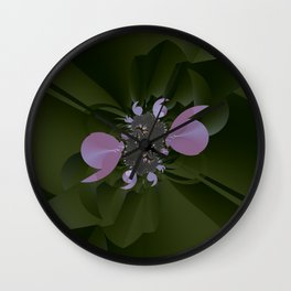 A plastic shiny bloom of a fractal plant Wall Clock