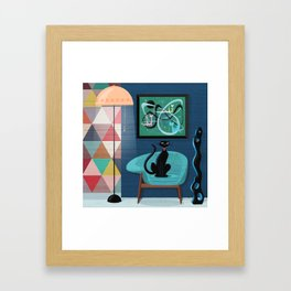 Creature Comforts Mid-Century Interior With Black Cat Framed Art Print