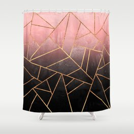 Pink And Black Stone Shower Curtain