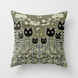tulip cats on a flower field and birds in the sky Throw Pillow