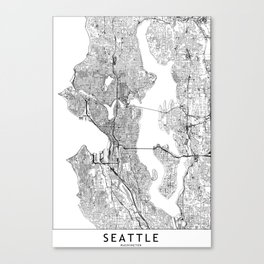 Seattle White Map Canvas Print