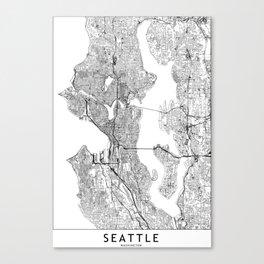Seattle White Map Canvas Print