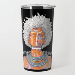 Portrait of an African Queen with white Eyes and awesome Afro Travel Mug