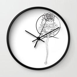 Skull rose black Wall Clock
