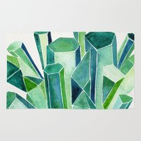 emerald Area & Throw Rugs featuring Emerald Watercolor by Cat Coquillette