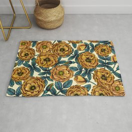 Golden Yellow Roses - A Vintage-Inspired Floral/Botanical Pattern Rug