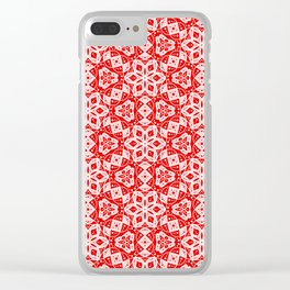 Red Pink and White Mini Mandala Abstract Flowing Floral Dotted Spirit Organic Clear iPhone Case