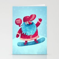 snowboard Stationery Cards featuring Snowboard Santa by Lime