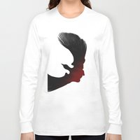 edgar allen poe Long Sleeve T-shirts featuring Edgar Allen Poe and the Raven by The Herald Project