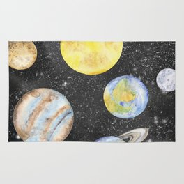 Watercolor Planets Rug