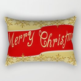 Red Merry Christmas Banner On Gold With Snowflakes  Rectangular Pillow