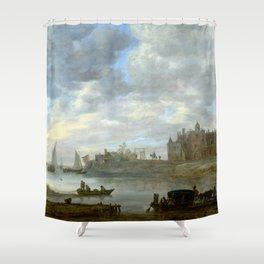 Jan van Goyen View of Duurstede Castle Shower Curtain