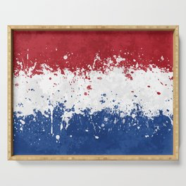 Netherlands Flag - Messy Action Painting Serving Tray