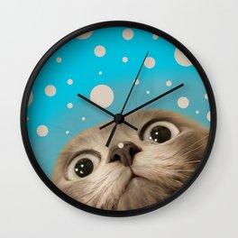 """""""Fun Kitty and Polka dots"""" Wall Clock"""
