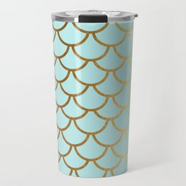 Aqua Teal And Gold Foil MermaidScales - Mermaid Scales Travel Mug