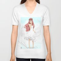vocaloid V-neck T-shirts featuring Luka Mergurine by Rinneii