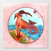 capricorn Canvas Prints featuring Capricorn by Sandra Nascimento
