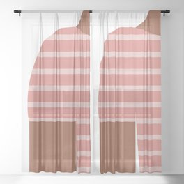 Pink & Black T-Shirt Sheer Curtain