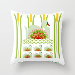 12 Days of Christmas - Seven Swans a Swimming Throw Pillow