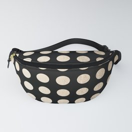 White Gold Sands Polka Dots on Midnight Black Fanny Pack