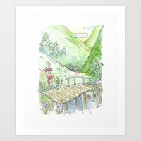 Moomin inspired background Art Print