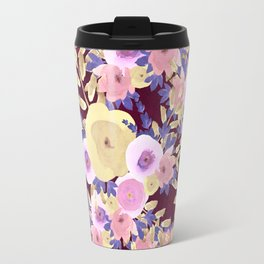 Watercolor pink lavender yellow burgundy floral Travel Mug
