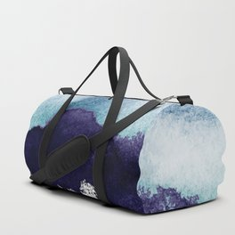 Silver foil on blue indigo paint Duffle Bag