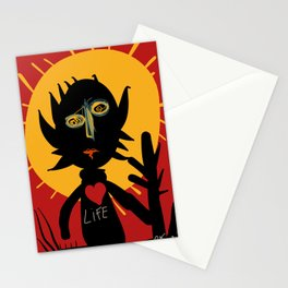 Life is a little man under the sun in a red sky African Art Stationery Cards