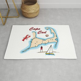 Cape Cod Map with Sailboat, Lighthouse, Lobster, and Shell Rug