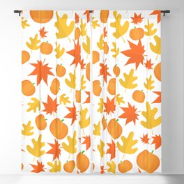 Colorful leaves and pumpkins Blackout Curtain