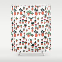 plants Shower Curtains featuring Plants by Kittymacdraws