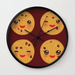 Kawaii Chocolate chip cookie Wall Clock