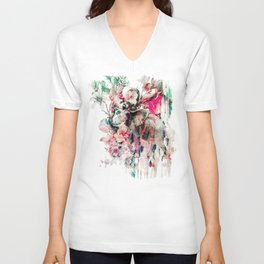 Watercolor Elephant and Flowers Unisex V-Neck